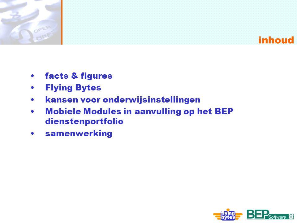 onafhankelijk, flexibel en deskundig inhoud fly ng bytes facts & figures Flying Bytes kansen voor onderwijsinstellingen Mobiele Modules in aanvulling