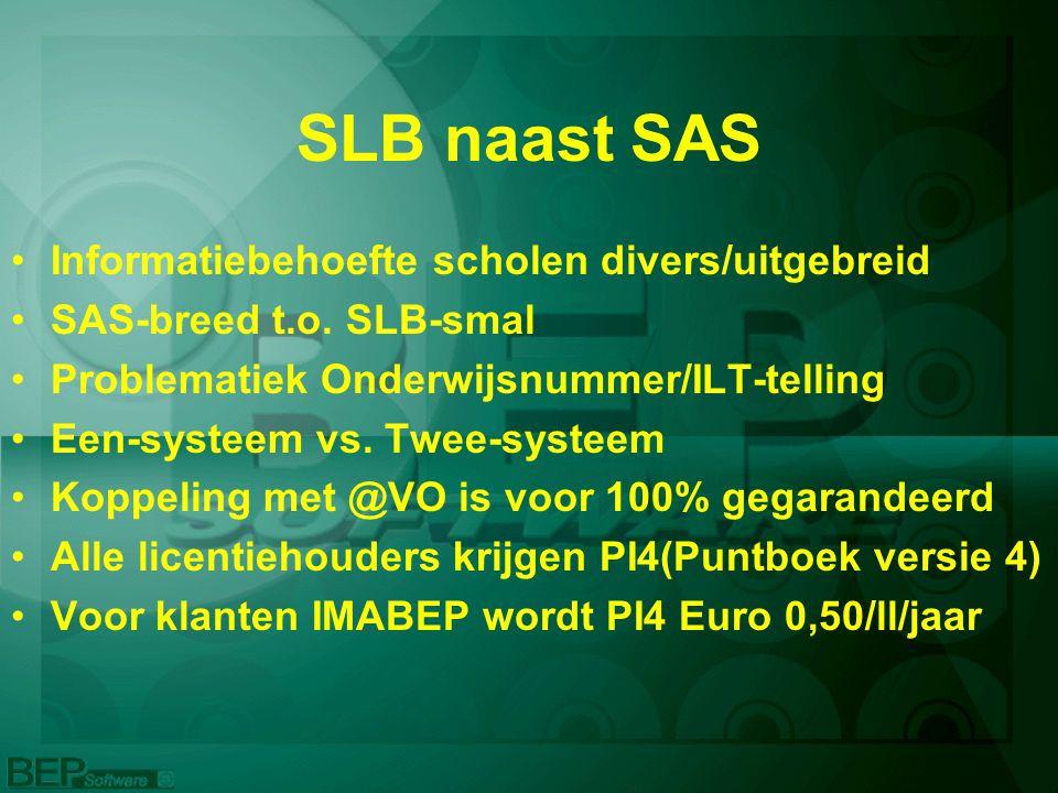 SLB naast SAS Informatiebehoefte scholen divers/uitgebreid SAS-breed t.o.