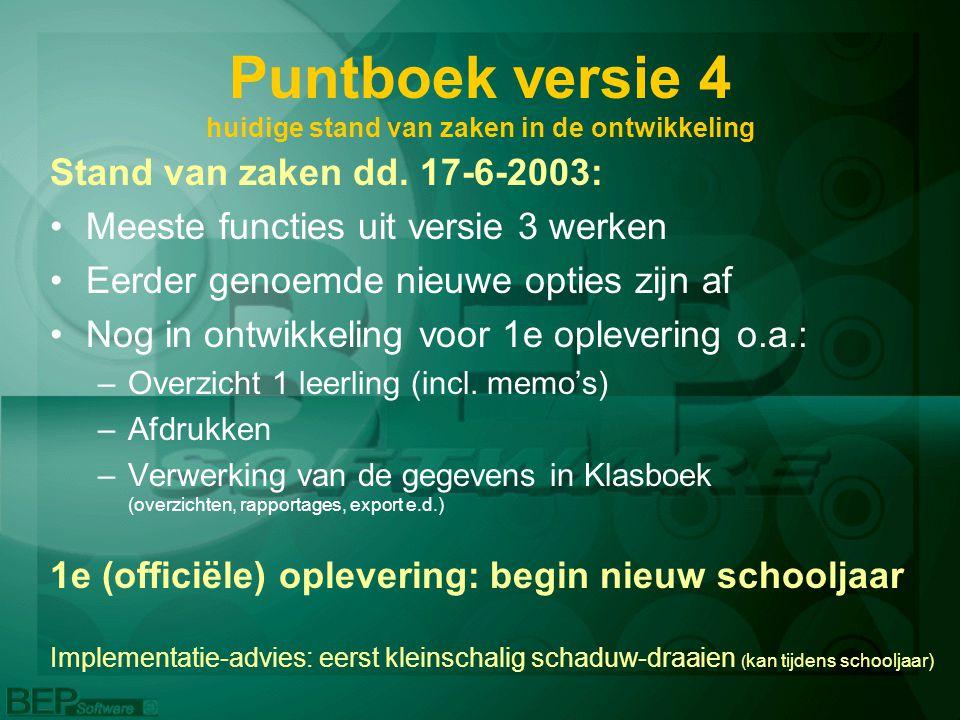 Puntboek versie 4 huidige stand van zaken in de ontwikkeling Stand van zaken dd. 17-6-2003: Meeste functies uit versie 3 werken Eerder genoemde nieuwe
