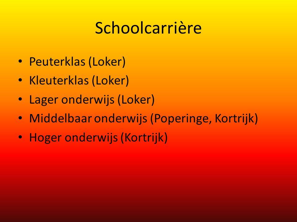 Schoolcarrière Peuterklas (Loker) Kleuterklas (Loker) Lager onderwijs (Loker) Middelbaar onderwijs (Poperinge, Kortrijk) Hoger onderwijs (Kortrijk)