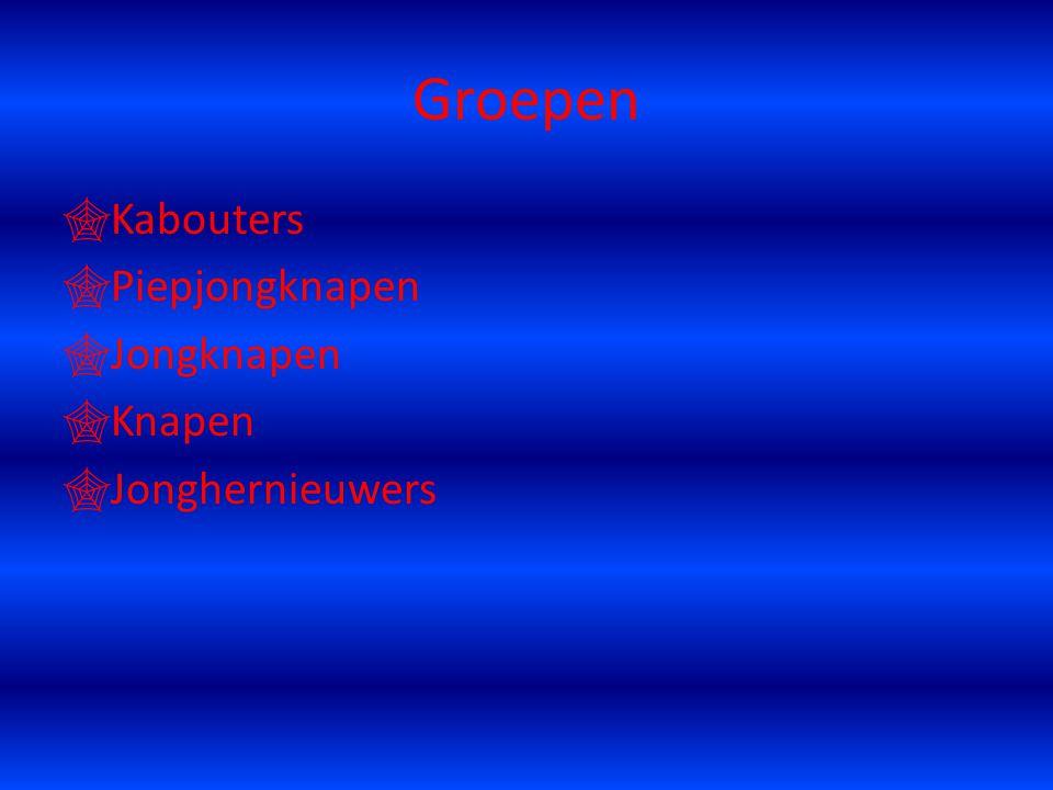 Groepen  Kabouters  Piepjongknapen  Jongknapen  Knapen  Jonghernieuwers