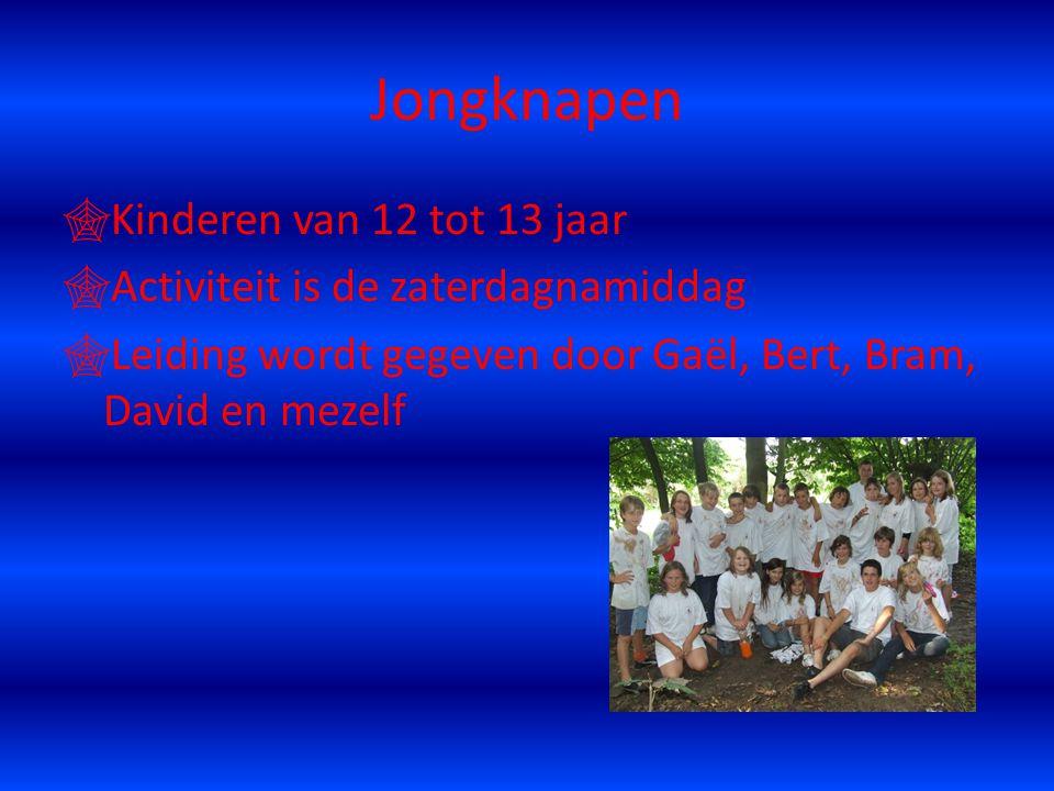 Jongknapen  Kinderen van 12 tot 13 jaar  Activiteit is de zaterdagnamiddag  Leiding wordt gegeven door Gaël, Bert, Bram, David en mezelf