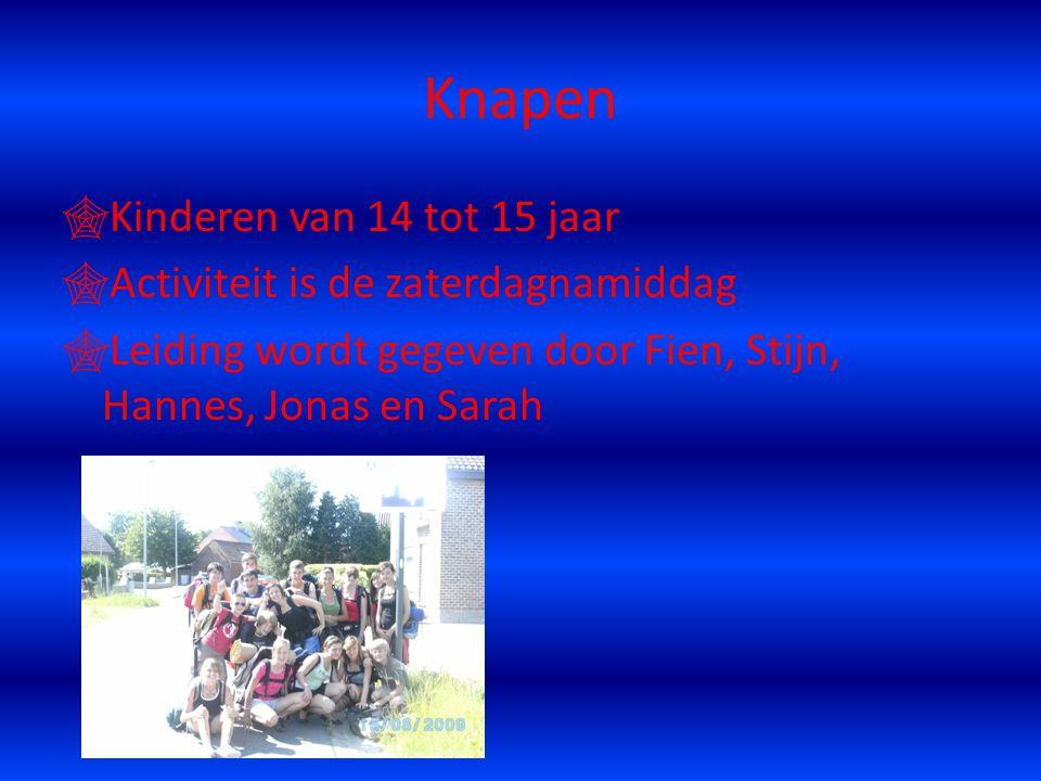 Knapen  Kinderen van 14 tot 15 jaar  Activiteit is de zaterdagnamiddag  Leiding wordt gegeven door Fien, Stijn, Hannes, Jonas en Sarah
