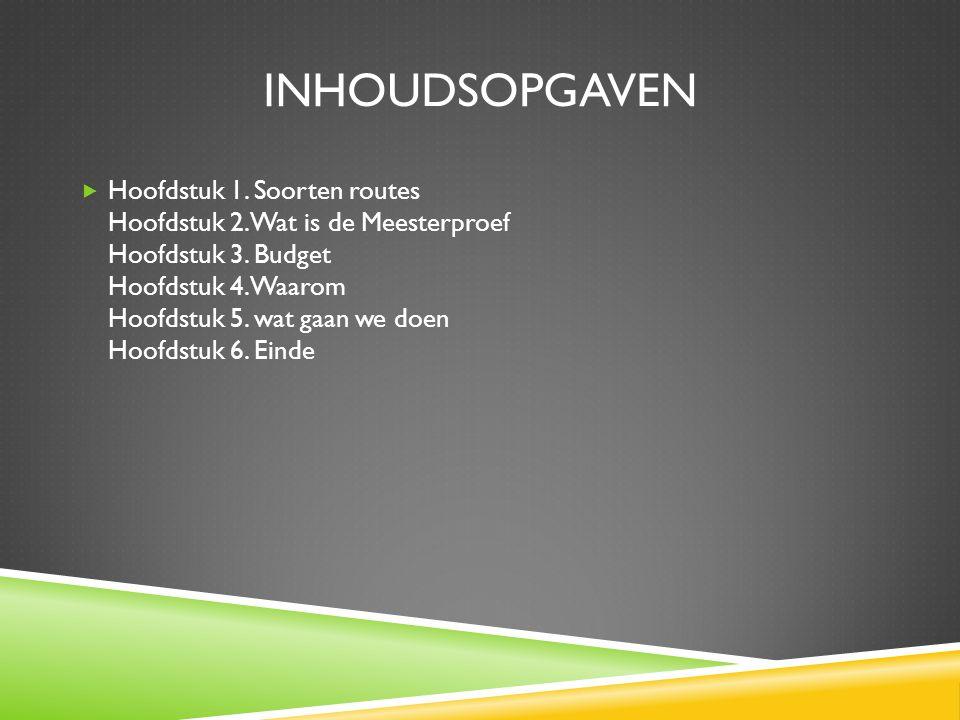 INHOUDSOPGAVEN  Hoofdstuk 1.Soorten routes Hoofdstuk 2.