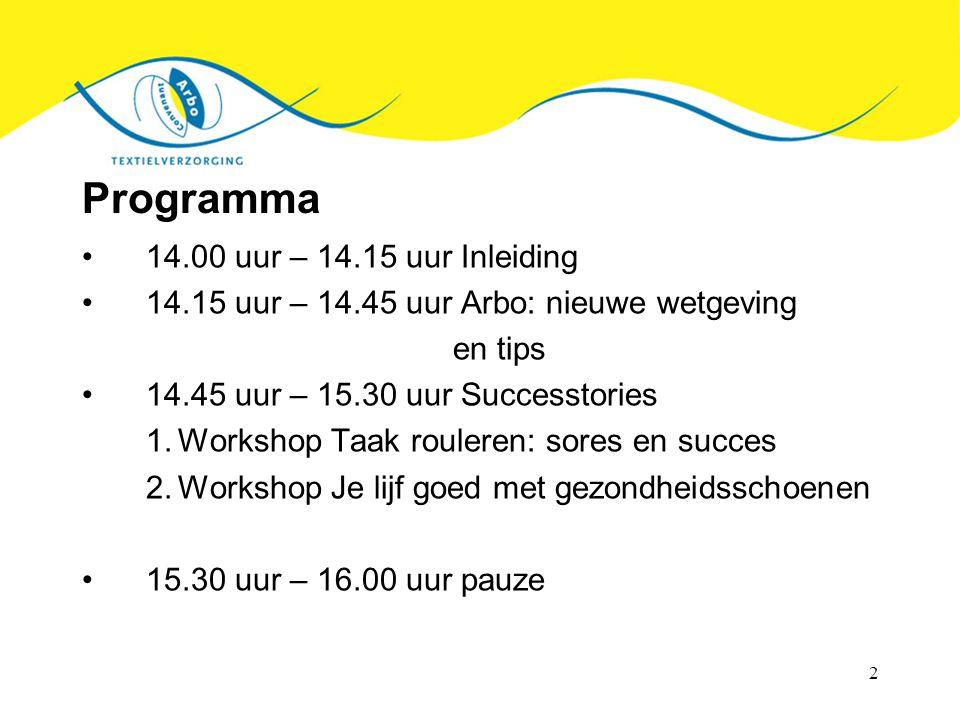 2 Programma 14.00 uur – 14.15 uur Inleiding 14.15 uur – 14.45 uur Arbo: nieuwe wetgeving en tips 14.45 uur – 15.30 uur Successtories 1.Workshop Taak r