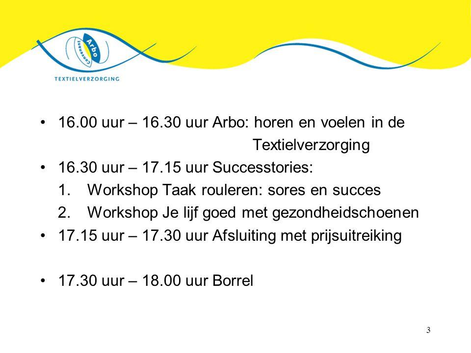 3 16.00 uur – 16.30 uur Arbo: horen en voelen in de Textielverzorging 16.30 uur – 17.15 uur Successtories: 1.Workshop Taak rouleren: sores en succes 2