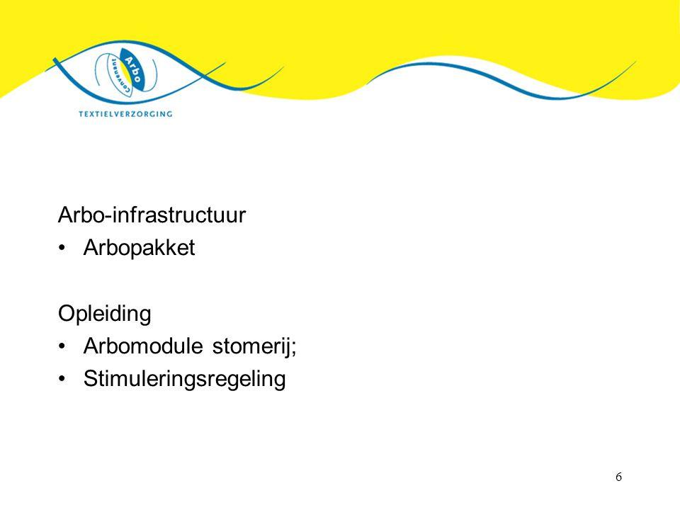 6 Arbo-infrastructuur Arbopakket Opleiding Arbomodule stomerij; Stimuleringsregeling
