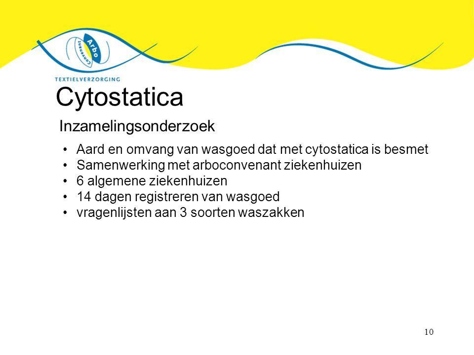 10 Cytostatica Inzamelingsonderzoek Aard en omvang van wasgoed dat met cytostatica is besmet Samenwerking met arboconvenant ziekenhuizen 6 algemene ziekenhuizen 14 dagen registreren van wasgoed vragenlijsten aan 3 soorten waszakken