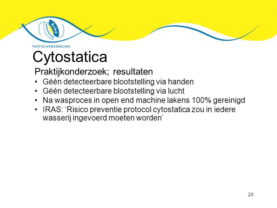 20 Cytostatica Praktijkonderzoek; resultaten Géén detecteerbare blootstelling via handen Géén detecteerbare blootstelling via lucht Na wasproces in open end machine lakens 100% gereinigd IRAS: 'Risico preventie protocol cytostatica zou in iedere wasserij ingevoerd moeten worden'
