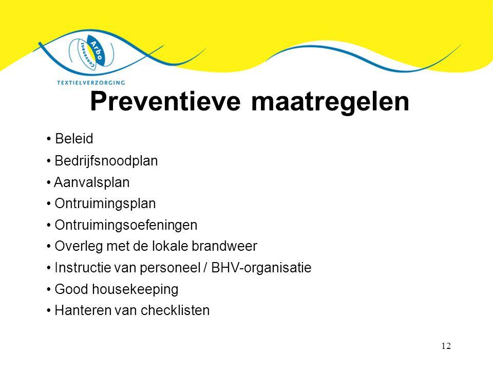 12 Preventieve maatregelen Beleid Bedrijfsnoodplan Aanvalsplan Ontruimingsplan Ontruimingsoefeningen Overleg met de lokale brandweer Instructie van pe
