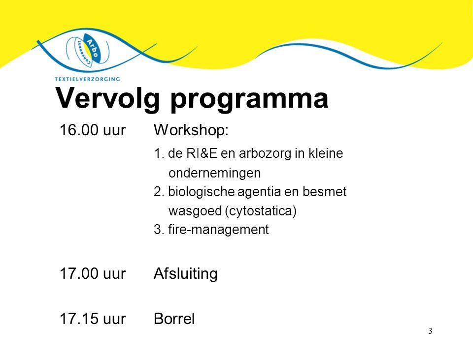 3 Vervolg programma 16.00 uurWorkshop: 1. de RI&E en arbozorg in kleine ondernemingen 2. biologische agentia en besmet wasgoed (cytostatica) 3. fire-m