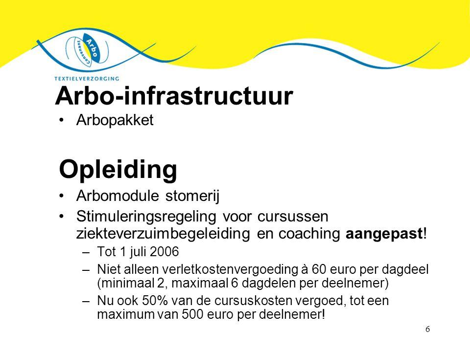 6 Arbo-infrastructuur Arbopakket Opleiding Arbomodule stomerij Stimuleringsregeling voor cursussen ziekteverzuimbegeleiding en coaching aangepast! –To