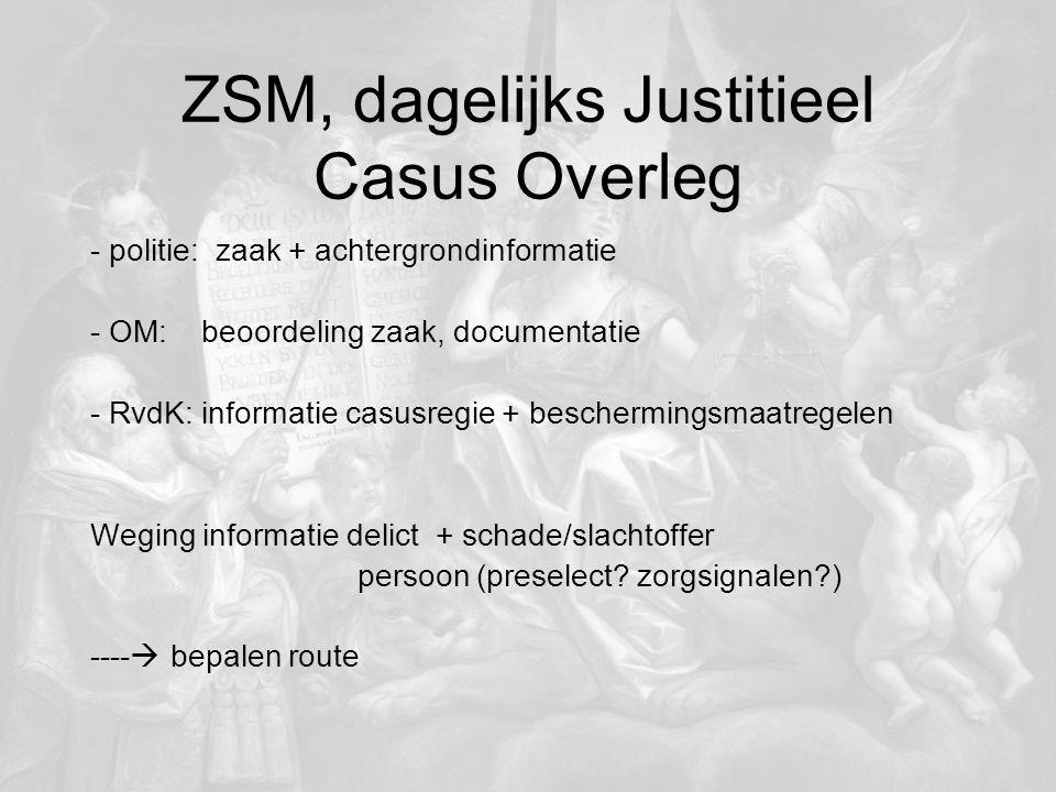 ZSM, dagelijks Justitieel Casus Overleg - politie: zaak + achtergrondinformatie - OM: beoordeling zaak, documentatie - RvdK: informatie casusregie + b