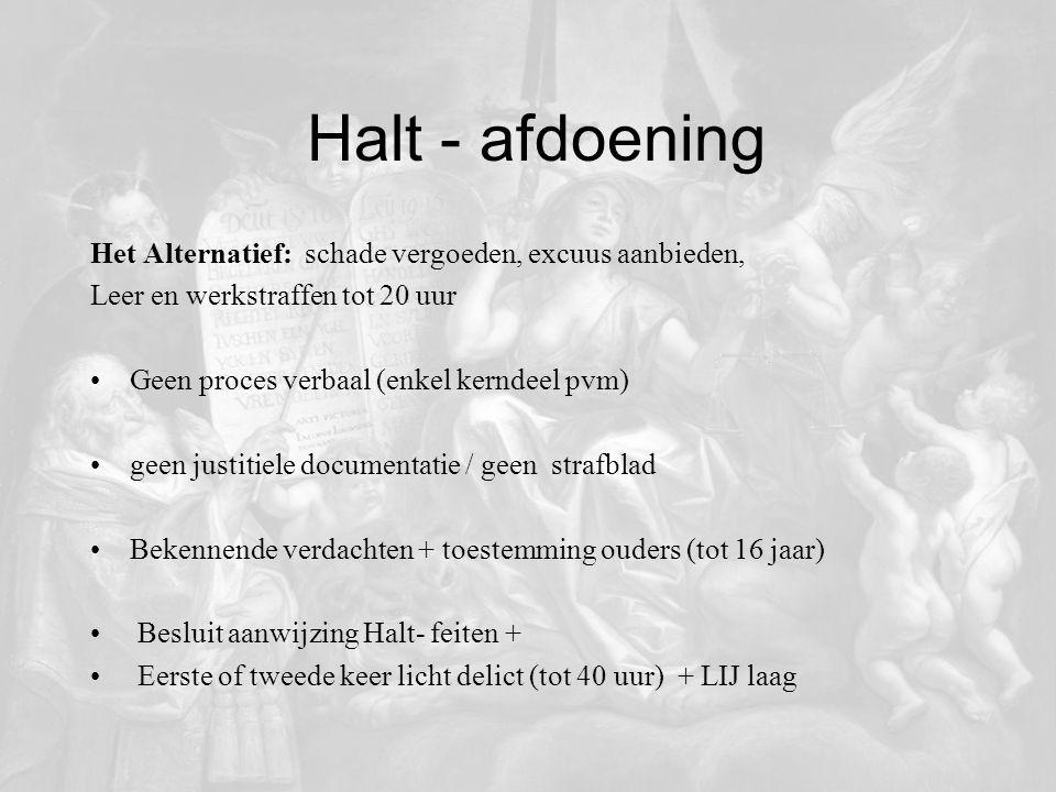 Halt - afdoening Het Alternatief: schade vergoeden, excuus aanbieden, Leer en werkstraffen tot 20 uur Geen proces verbaal (enkel kerndeel pvm) geen ju