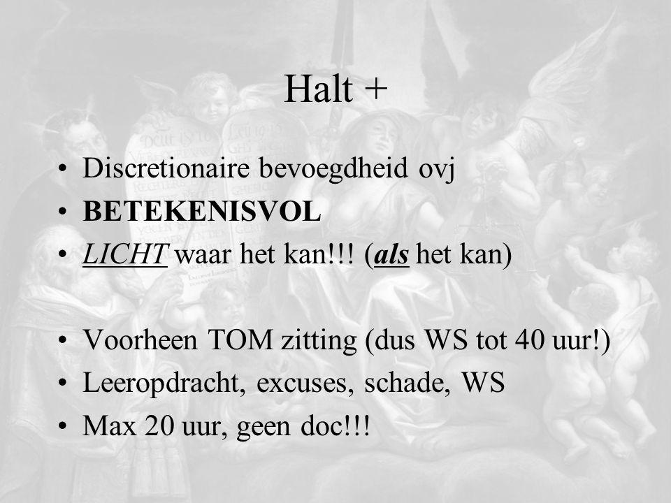 Halt + Discretionaire bevoegdheid ovj BETEKENISVOL LICHT waar het kan!!! (als het kan) Voorheen TOM zitting (dus WS tot 40 uur!) Leeropdracht, excuses
