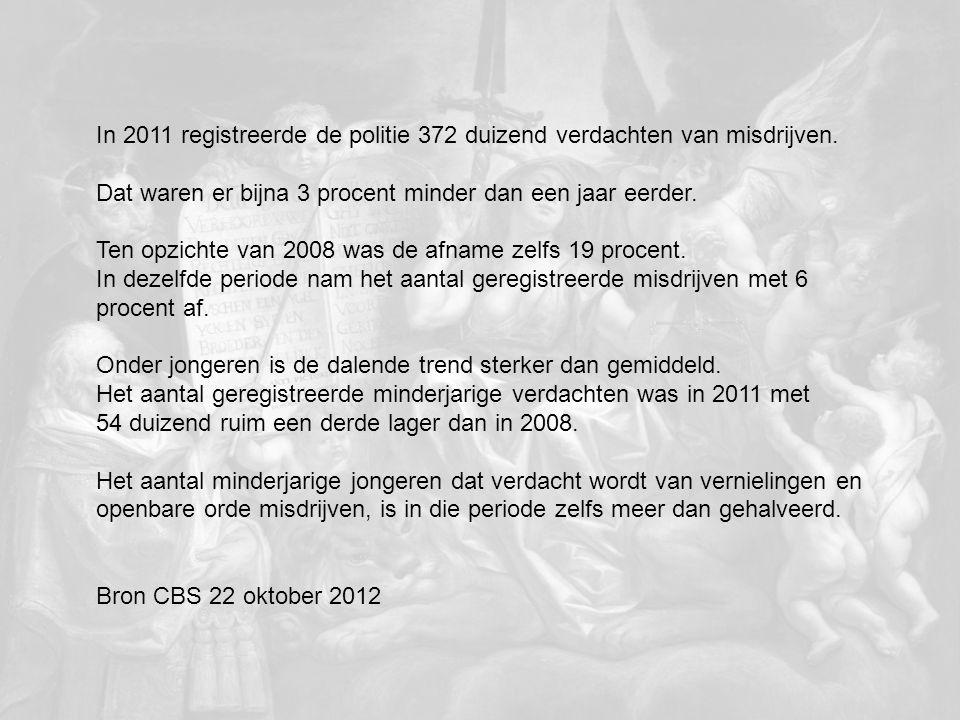 In 2011 registreerde de politie 372 duizend verdachten van misdrijven. Dat waren er bijna 3 procent minder dan een jaar eerder. Ten opzichte van 2008