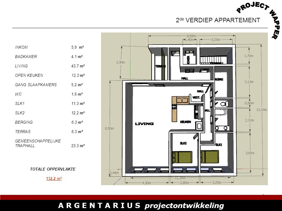 9 A R G E N T A R I U S projectontwikkeling DUPLEX APPARTEMENT 1 (LINKS) INKOM1,8 m² LIVING / OPEN KEUKEN37,8 m² WC2,3 m² TERRAS6,3 m² GEMEENSCHAPPELIJKE TRAPHALL17,1 m³ TOTALE OPPERVLAKTE SLAAPKAMERS DPX 1 41,6 m² TOTALE OPPERVLAKTE DUPLEX 1 107 m² TOTALE OPPERVLAKTE APPARTEMENT 65,3 m²
