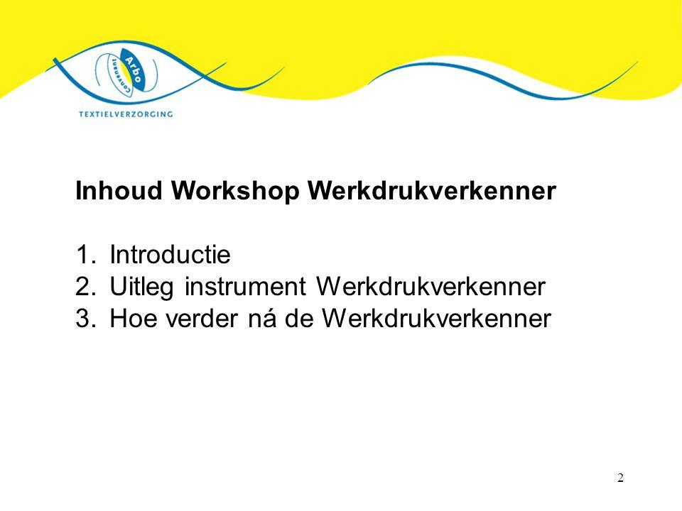 2 Inhoud Workshop Werkdrukverkenner 1.Introductie 2.Uitleg instrument Werkdrukverkenner 3.Hoe verder ná de Werkdrukverkenner