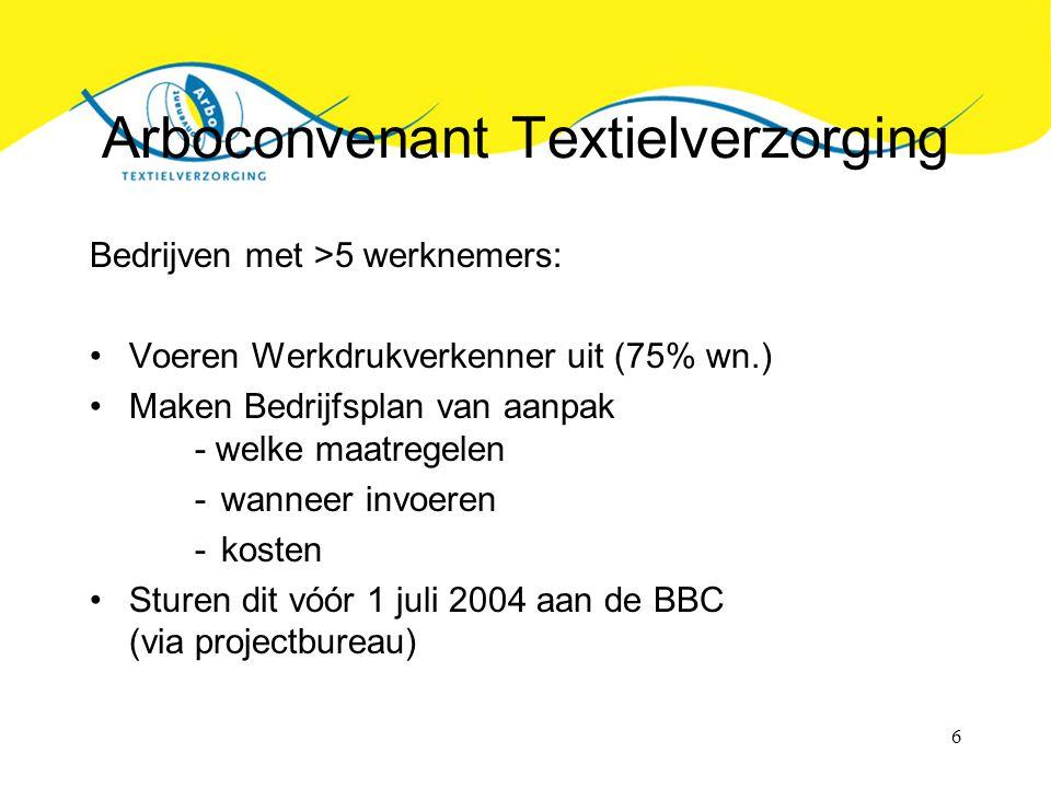 6 Arboconvenant Textielverzorging Bedrijven met >5 werknemers: Voeren Werkdrukverkenner uit (75% wn.) Maken Bedrijfsplan van aanpak - welke maatregelen -wanneer invoeren -kosten Sturen dit vóór 1 juli 2004 aan de BBC (via projectbureau)