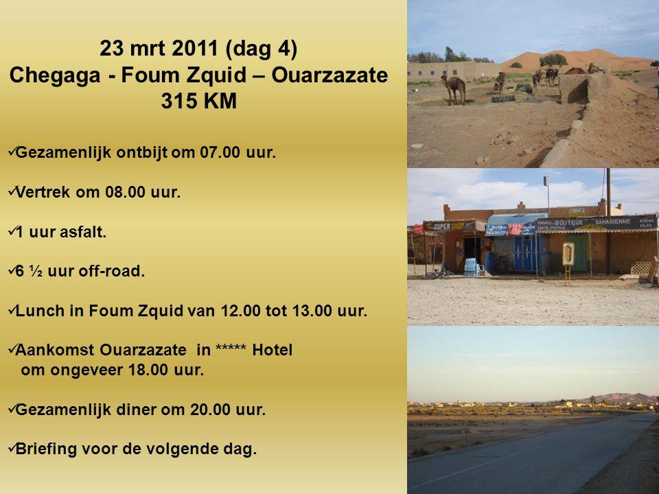 Gezamenlijk ontbijt om 07.30 uur. Vertrek om 08.30 uur. 0.45 uur asfalt. 5 ½ uur off-road Lunch in Mhamid van 12.00 tot 14.00 uur. Aankomst in woestij