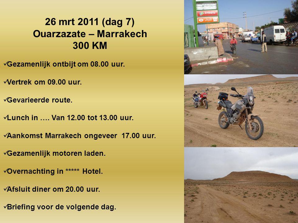 Gezamenlijk ontbijt om 08.00 uur. Vertrek om 09.00 uur. 1 uur asfalt. 5 ½ uur off-road. Lunch in Telouet van 12.00 tot 13.00 uur. Aankomst Ouarzazate