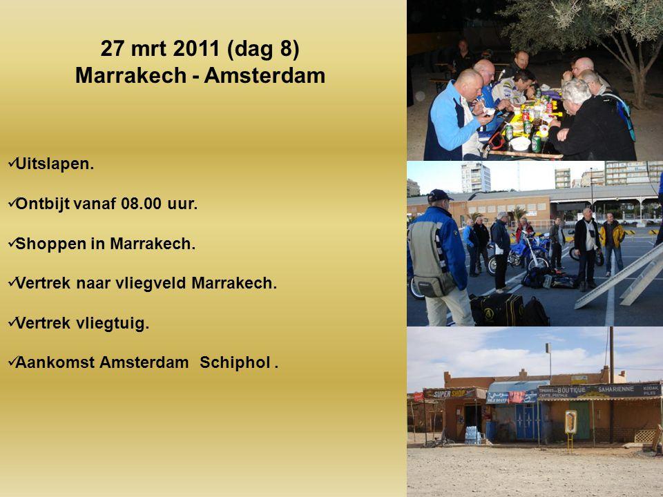 Gezamenlijk ontbijt om 08.00 uur. Vertrek om 09.00 uur. Gevarieerde route. Lunch in …. Van 12.00 tot 13.00 uur. Aankomst Marrakech ongeveer 17.00 uur.