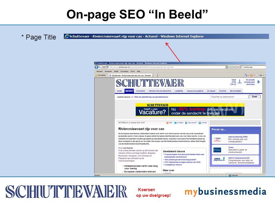 """Koersen op uw doelgroep! On-page SEO """"In Beeld"""" * Page Title"""