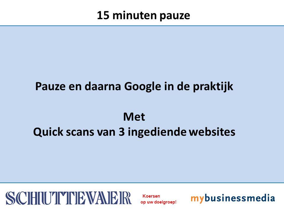 Koersen op uw doelgroep! Pauze en daarna Google in de praktijk Met Quick scans van 3 ingediende websites 15 minuten pauze