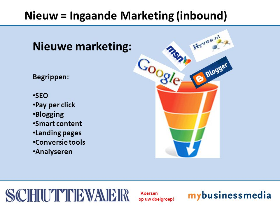 Koersen op uw doelgroep! Nieuwe marketing: Begrippen: SEO Pay per click Blogging Smart content Landing pages Conversie tools Analyseren Nieuw = Ingaan