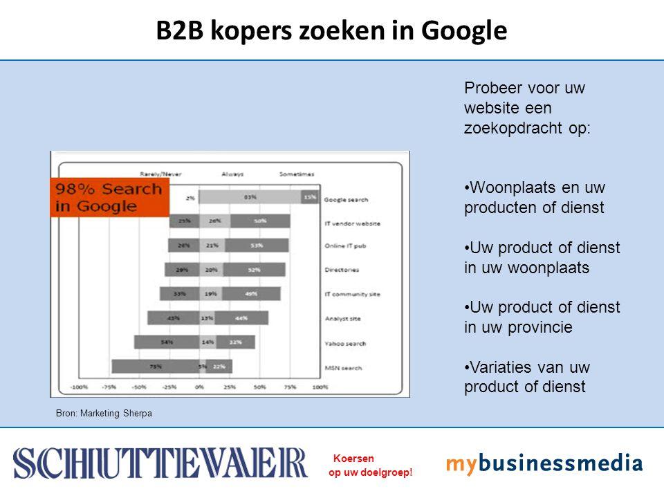 Koersen op uw doelgroep! B2B kopers zoeken in Google Bron: Marketing Sherpa Probeer voor uw website een zoekopdracht op: Woonplaats en uw producten of