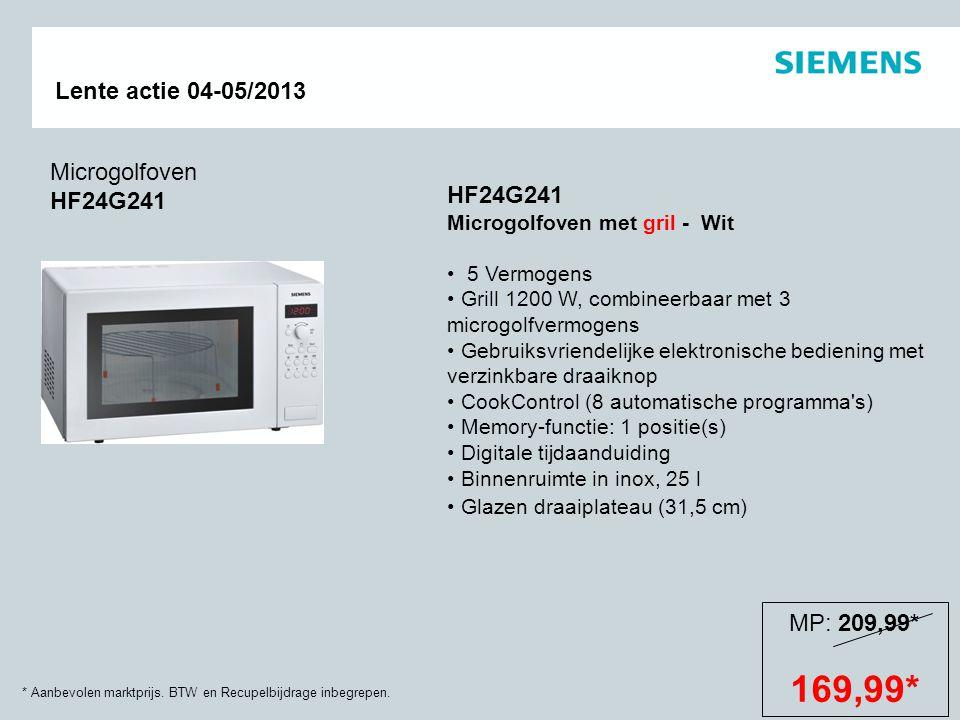 * Aanbevolen marktprijs. BTW en Recupelbijdrage inbegrepen. Lente actie 04-05/2013 Microgolfoven HF24G241 HF24G241 Microgolfoven met gril - Wit 5 Verm