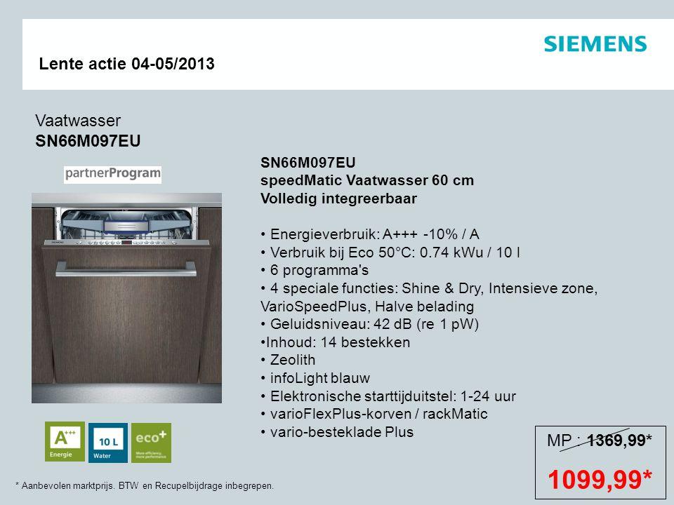 * Aanbevolen marktprijs. BTW en Recupelbijdrage inbegrepen. Lente actie 04-05/2013 SN66M097EU speedMatic Vaatwasser 60 cm Volledig integreerbaar Energ