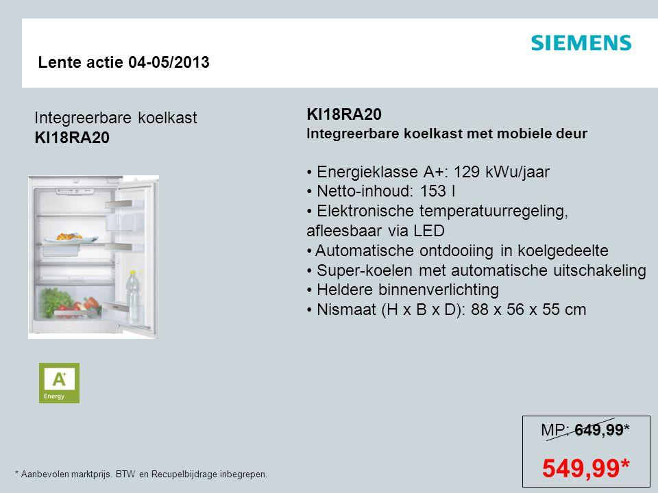 * Aanbevolen marktprijs. BTW en Recupelbijdrage inbegrepen. Lente actie 04-05/2013 Integreerbare koelkast KI18RA20 KI18RA20 Integreerbare koelkast met