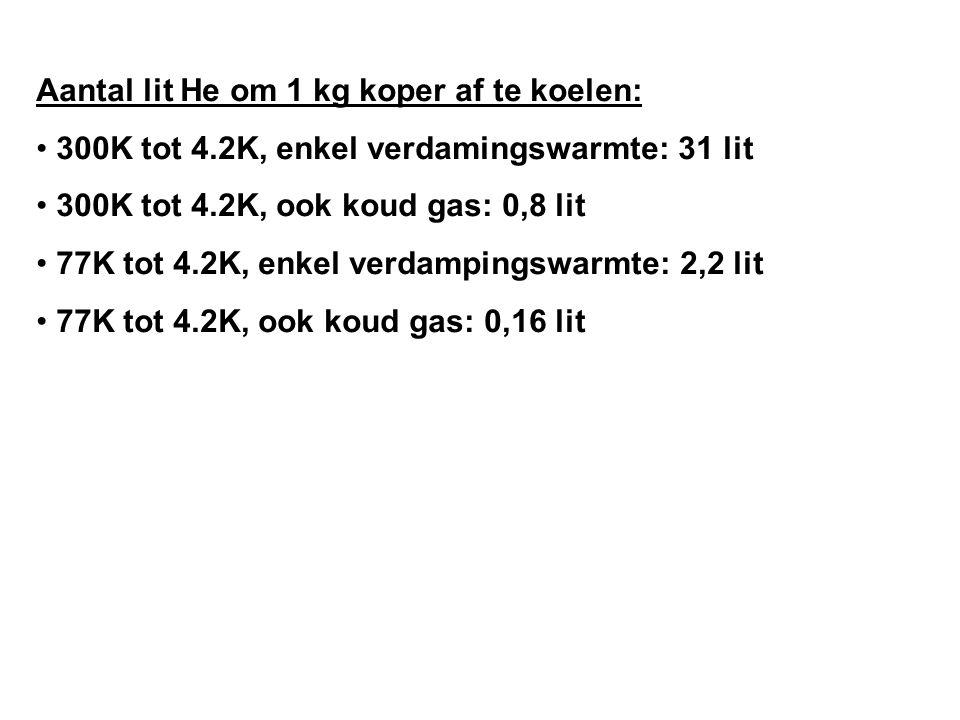 Aantal lit He om 1 kg koper af te koelen: 300K tot 4.2K, enkel verdamingswarmte: 31 lit 300K tot 4.2K, ook koud gas: 0,8 lit 77K tot 4.2K, enkel verdampingswarmte: 2,2 lit 77K tot 4.2K, ook koud gas: 0,16 lit