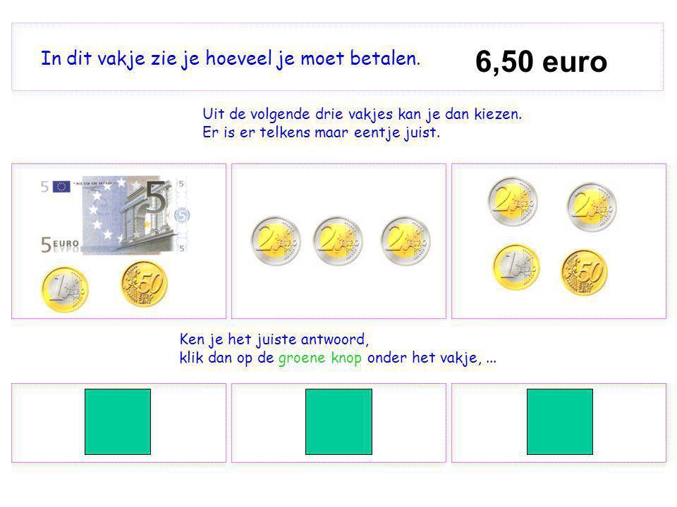 6,50 euro In dit vakje zie je hoeveel je moet betalen. Uit de volgende drie vakjes kan je dan kiezen. Er is er telkens maar eentje juist. Ken je het j