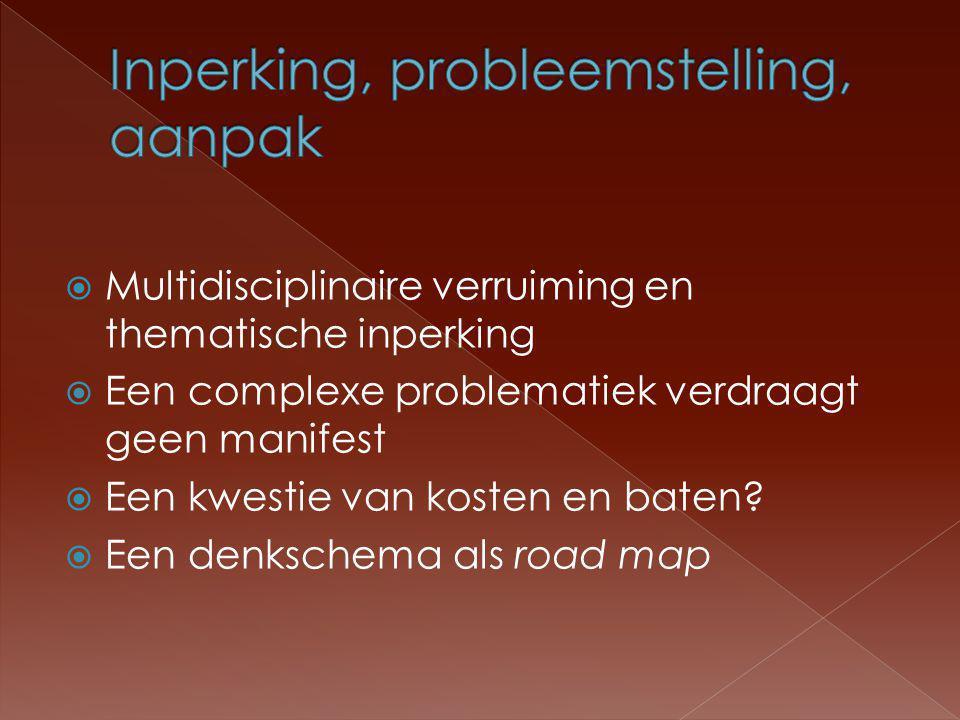  Multidisciplinaire verruiming en thematische inperking  Een complexe problematiek verdraagt geen manifest  Een kwestie van kosten en baten.