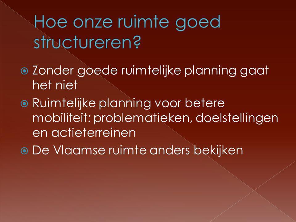  Zonder goede ruimtelijke planning gaat het niet  Ruimtelijke planning voor betere mobiliteit: problematieken, doelstellingen en actieterreinen  De Vlaamse ruimte anders bekijken