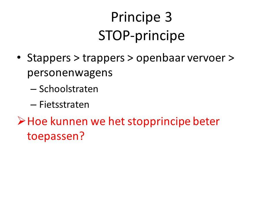 Principe 3 STOP-principe Stappers > trappers > openbaar vervoer > personenwagens – Schoolstraten – Fietsstraten  Hoe kunnen we het stopprincipe beter toepassen