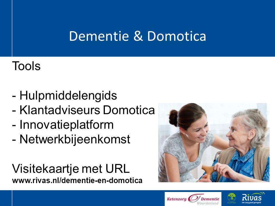 Dementie & Domotica Tools - Hulpmiddelengids - Klantadviseurs Domotica - Innovatieplatform - Netwerkbijeenkomst Visitekaartje met URL www.rivas.nl/dem