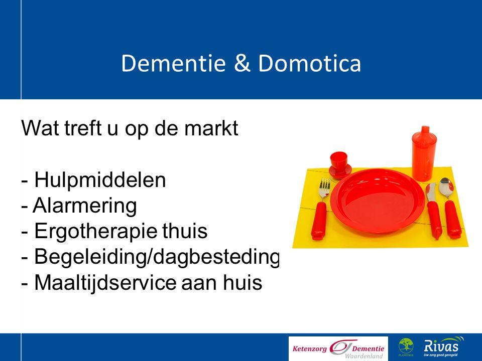 Dementie & Domotica Wat treft u op de markt - Hulpmiddelen - Alarmering - Ergotherapie thuis - Begeleiding/dagbesteding - Maaltijdservice aan huis