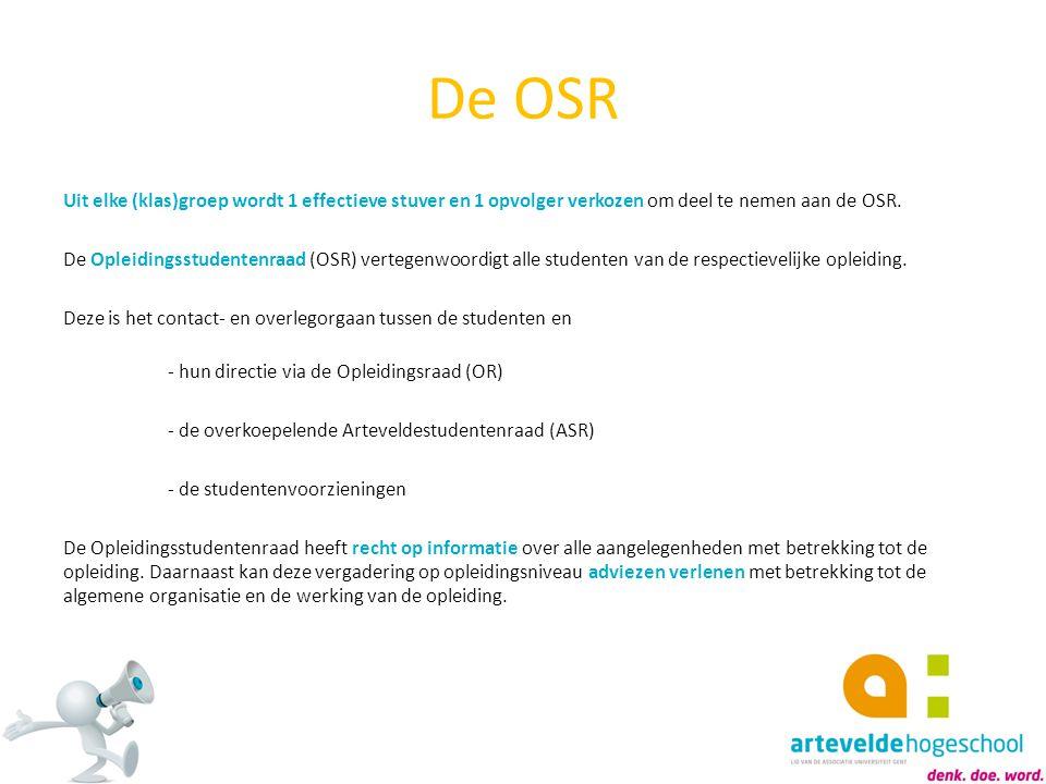 De OSR Uit elke (klas)groep wordt 1 effectieve stuver en 1 opvolger verkozen om deel te nemen aan de OSR. De Opleidingsstudentenraad (OSR) vertegenwoo