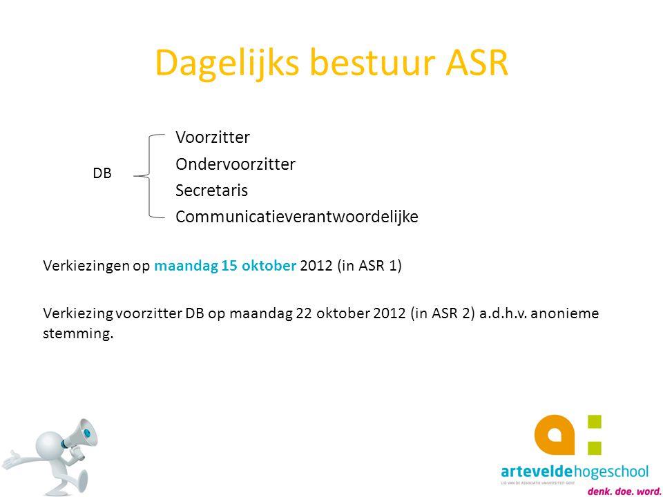 Voorzitter Ondervoorzitter Secretaris Communicatieverantwoordelijke Verkiezingen op maandag 15 oktober 2012 (in ASR 1) Verkiezing voorzitter DB op maa