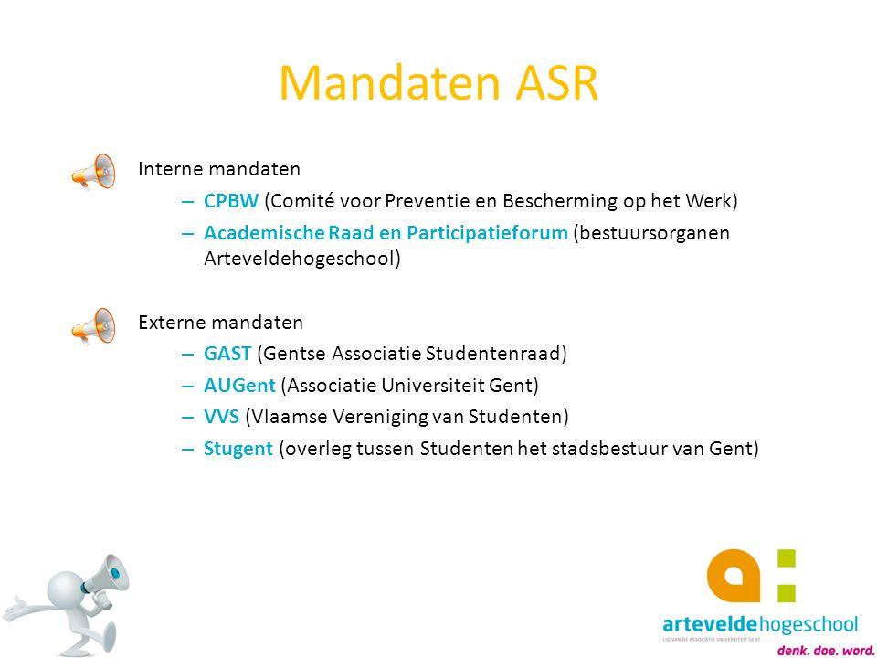 Mandaten ASR Interne mandaten – CPBW (Comité voor Preventie en Bescherming op het Werk) – Academische Raad en Participatieforum (bestuursorganen Artev