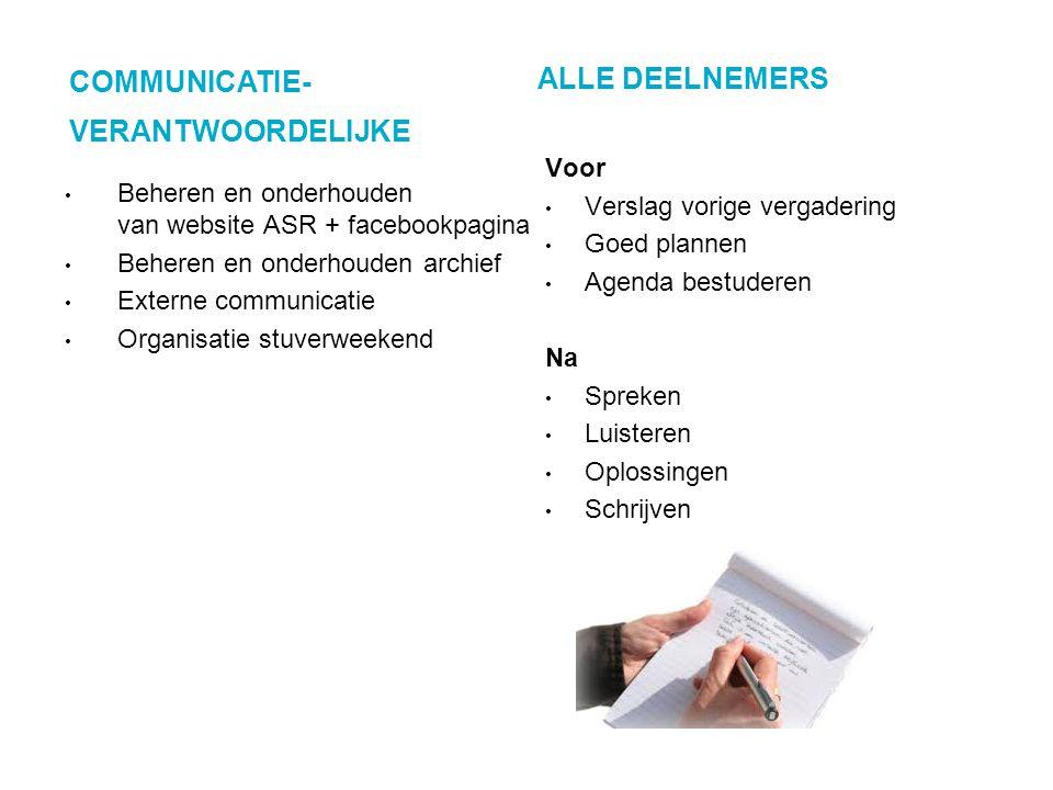 COMMUNICATIE- VERANTWOORDELIJKE ALLE DEELNEMERS Beheren en onderhouden van website ASR + facebookpagina Beheren en onderhouden archief Externe communi