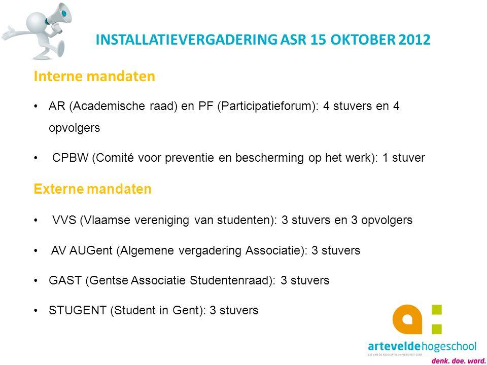 INSTALLATIEVERGADERING ASR 15 OKTOBER 2012 Interne mandaten AR (Academische raad) en PF (Participatieforum): 4 stuvers en 4 opvolgers CPBW (Comité voo