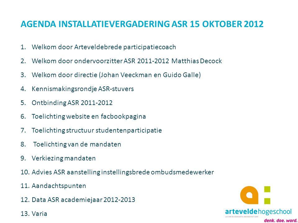 AGENDA INSTALLATIEVERGADERING ASR 15 OKTOBER 2012 1.Welkom door Arteveldebrede participatiecoach 2.Welkom door ondervoorzitter ASR 2011-2012 Matthias