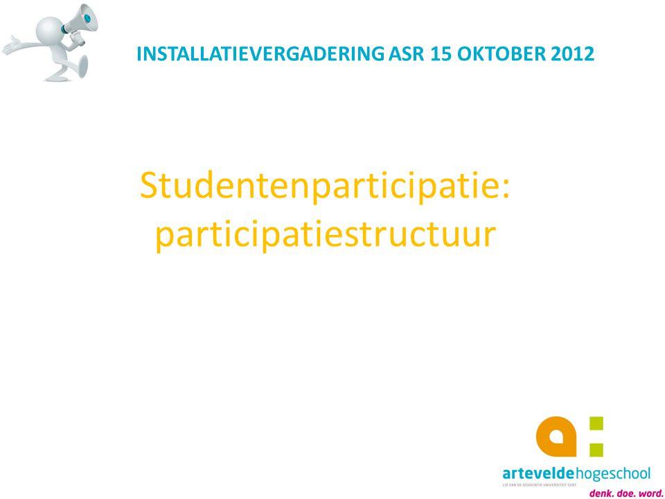 Studentenparticipatie: participatiestructuur INSTALLATIEVERGADERING ASR 15 OKTOBER 2012
