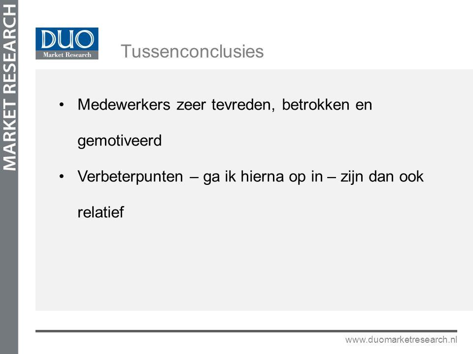 Medewerkers zeer tevreden, betrokken en gemotiveerd Verbeterpunten – ga ik hierna op in – zijn dan ook relatief www.duomarketresearch.nl Tussenconclus