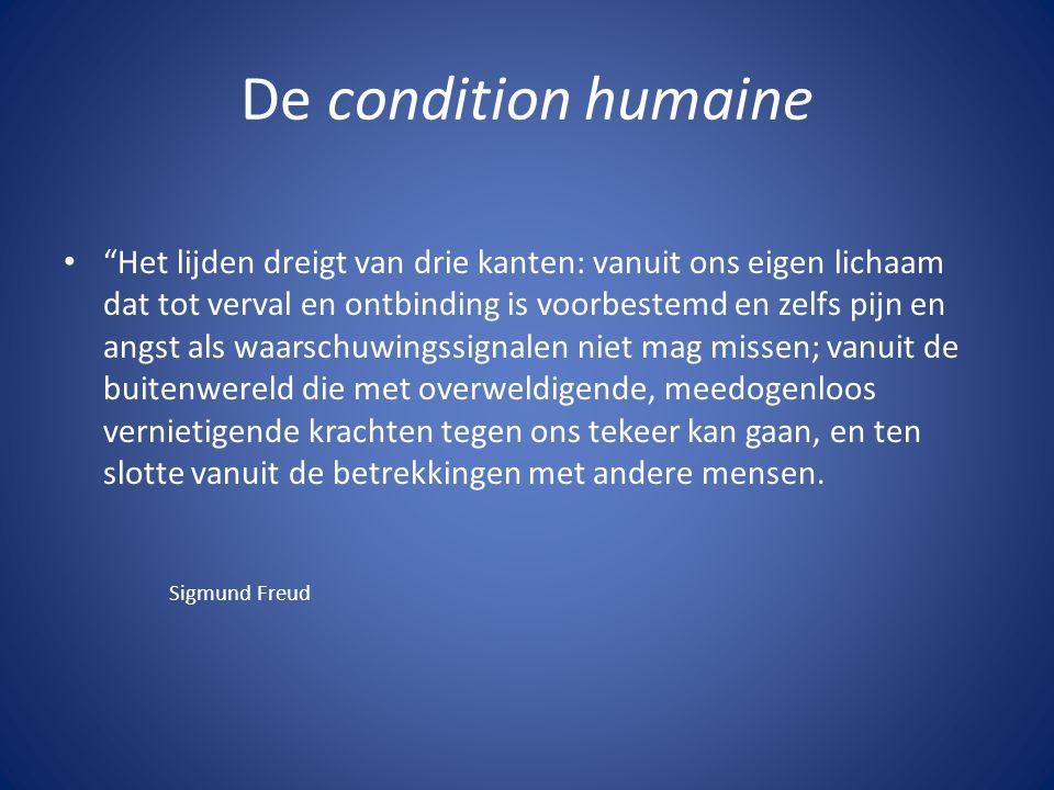"""De condition humaine """"Het lijden dreigt van drie kanten: vanuit ons eigen lichaam dat tot verval en ontbinding is voorbestemd en zelfs pijn en angst a"""