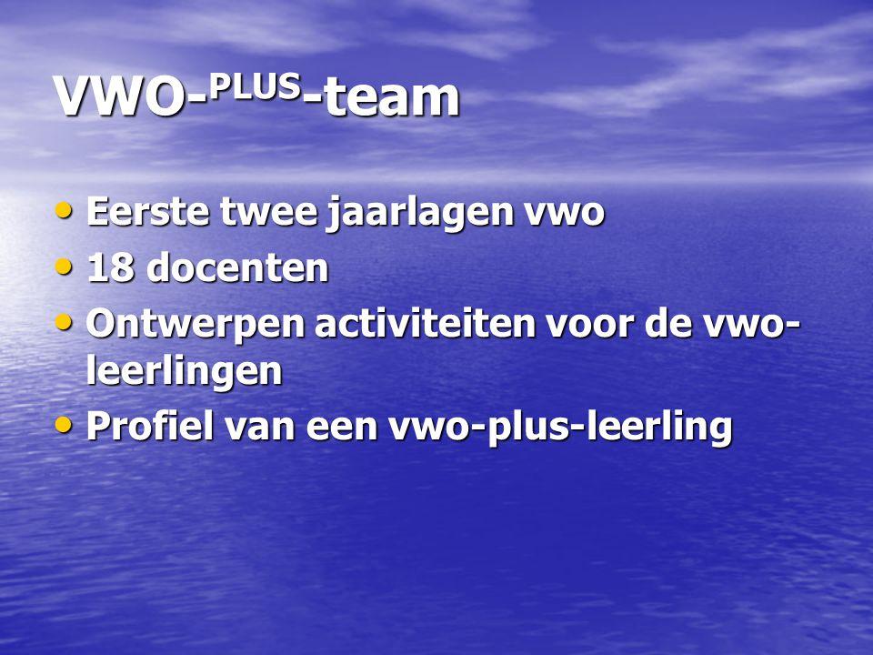 VWO- PLUS -team Eerste twee jaarlagen vwo Eerste twee jaarlagen vwo 18 docenten 18 docenten Ontwerpen activiteiten voor de vwo- leerlingen Ontwerpen a